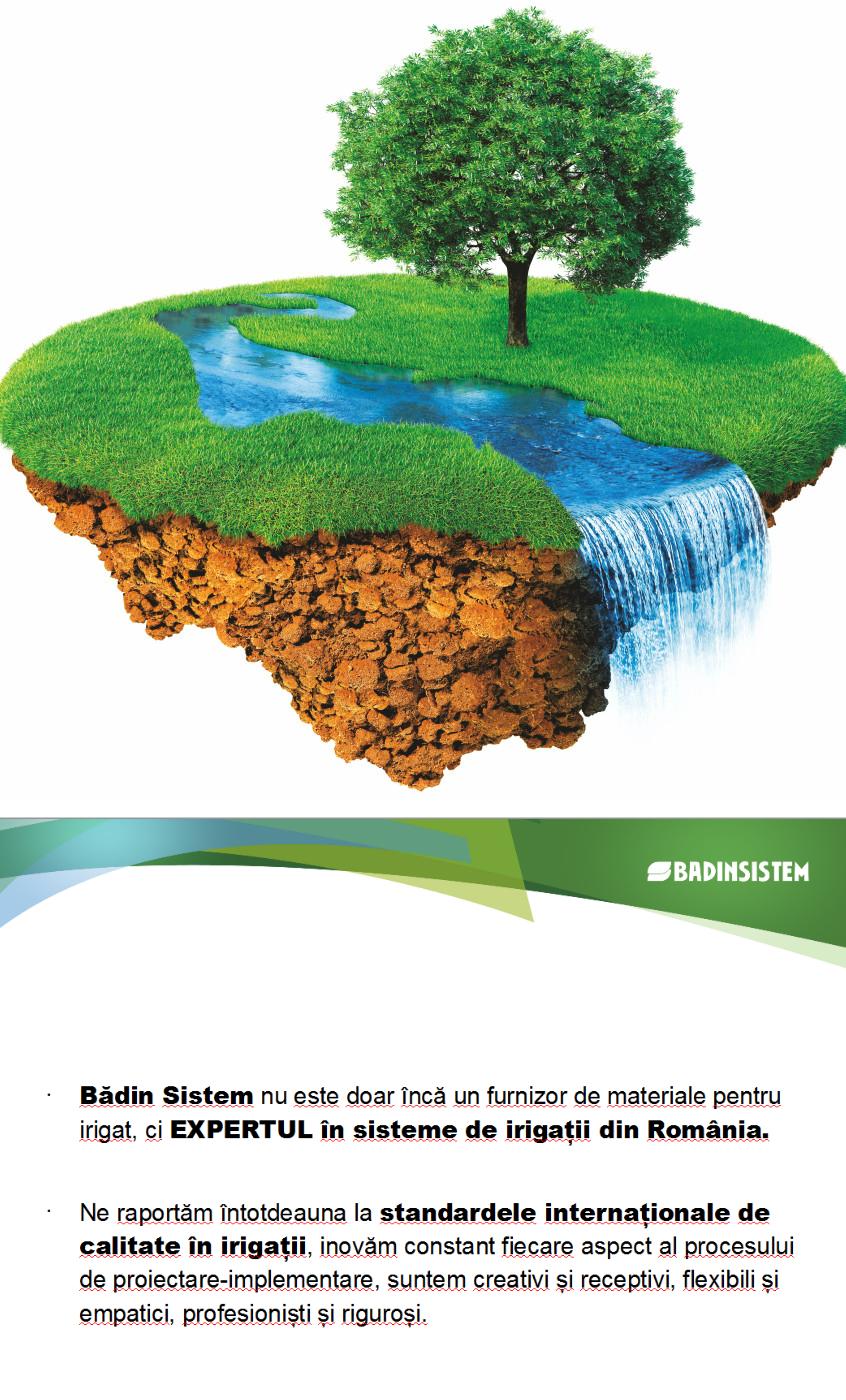 Badin sistem | furnizor de materiale pentru irigat. Expert in sistem de irigatii din Romania. Aici gasiti:irigatii prin aspersie, folie antiburuiana, irigatii prin picurare, tub de picurare, aspersoare, amenajari spatii verzi , locuri de joaca, montaj gazon rulat, ,vanzare produse irigatii, folie solar, pompe iazuri, pavaj ecologic, borduri plastic, filtre iazuri, panou comanda sistem irigatie, teava polietilena